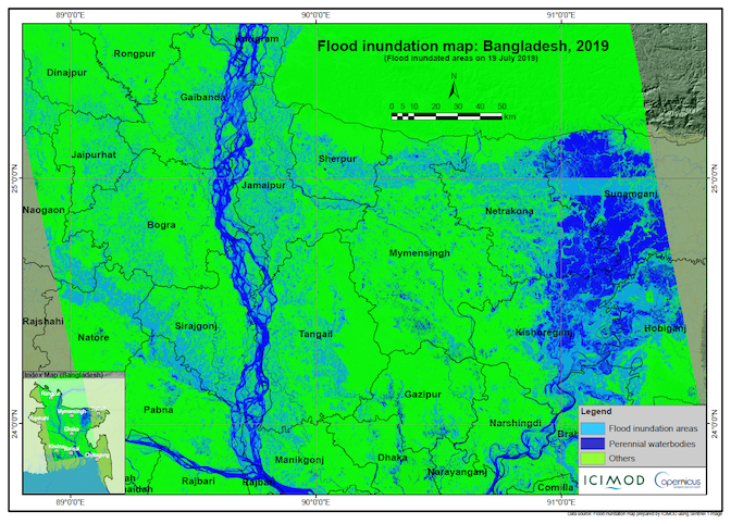 Flood Inundation Map of Bangladesh, 19 July 2019