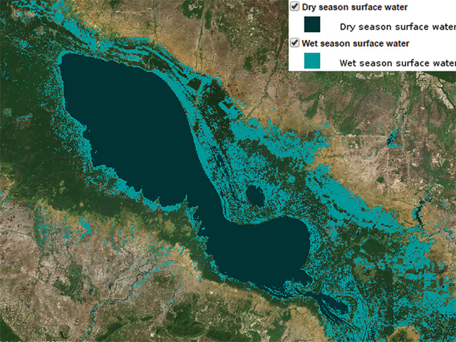 Map showing dry season and wet season surface water in Cambodia